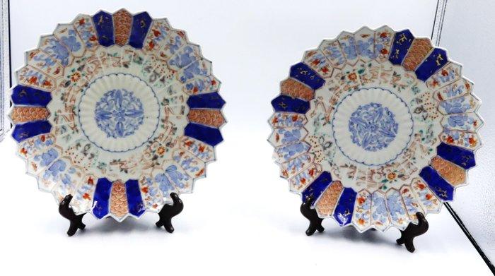 Blue, red and gold Imari decor plates - Porcelain - Japan - Meiji period (1868-1912)