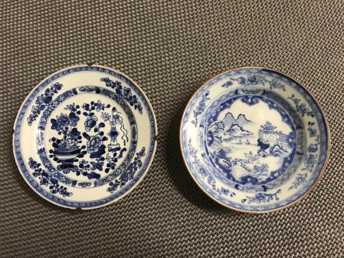Plates (2) - Blue and white - Porcelain - Landschap met personen - China - 18th century