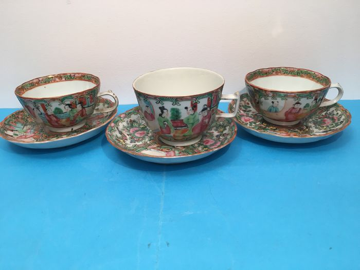 Saucers, Tea cups (6) - Canton, Famille rose - Porcelain - China - 19th century
