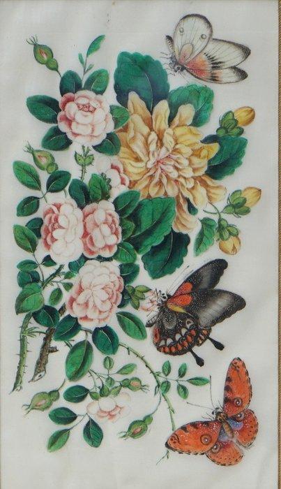 Silk painting - Pith paper - China - 19th century