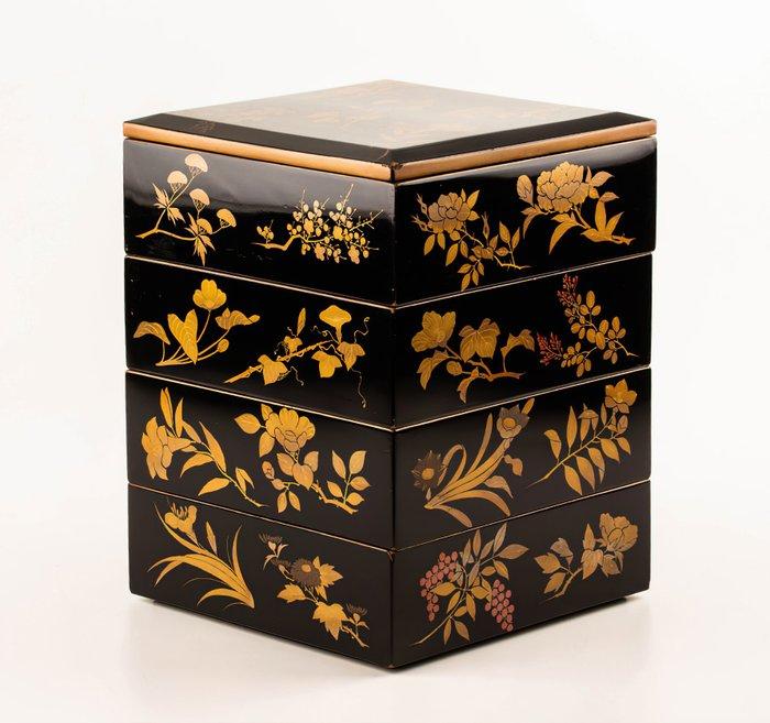 Jubako (1) - Gold, Lacquer, Wood - Very fine jubako herbarium design - including original tomobako - Japan - Meiji period (1868-1912)