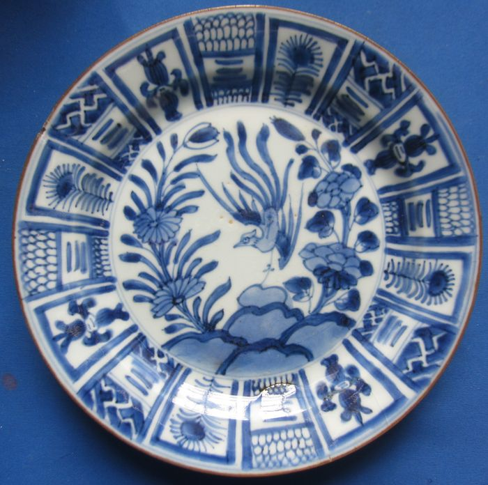 Antique porcelain plate - Kangxi in Wanli style (1) - Porcelain - Flowers - China - 18th century
