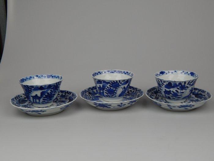 Cup and saucer (3) - Porcelain - China - Guangxu (1875-1908)