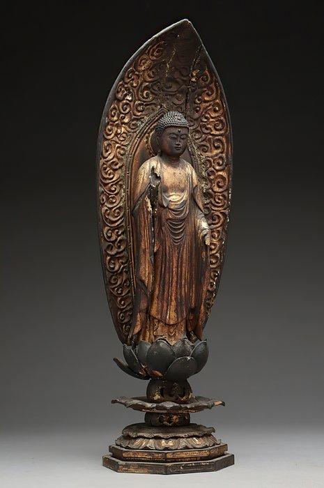 Figure (1) - Gold, Wood - Fine Buddha Amida figure - Japan - Early Edo period