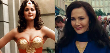 Lynda Carter as Wonder Woman (left) and as Asteria (right)