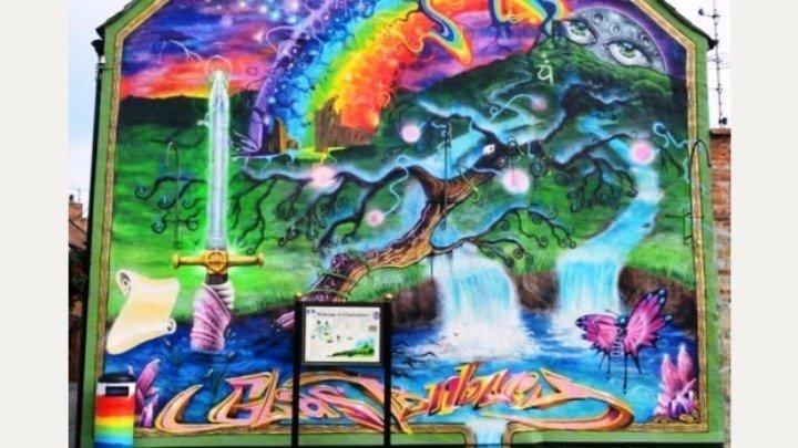 Image result for glastonbury mural
