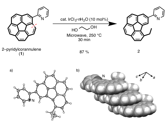イリジウム触媒によるコラニュレンのflank結合選択的な開裂反応とX線結晶構造 (2)
