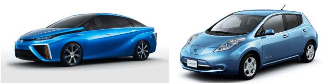TOYOTA 燃料自動車MIRAI(左)と日産の電気自動車リーフ(右)