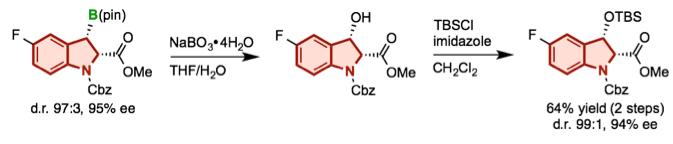 図2 ボリルインドリンの立体特異的酸化反応