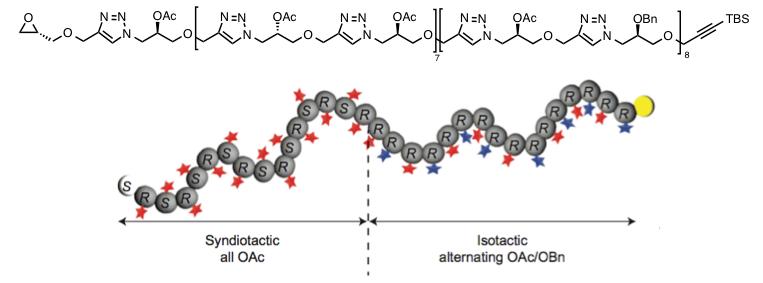 図4. 異なる立体規則性(S, RとR, R)と異なる配列を同一分子内に有する32量体