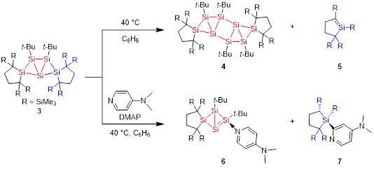 図2. 化合物3の熱反応による化合物2の二量体4の合成およびDMAPを用いた2の捕捉体6の合成.