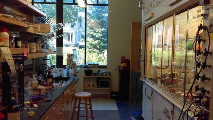 私の実験スペース。Fume hood(右)とBench(左)の両方が与えられます。