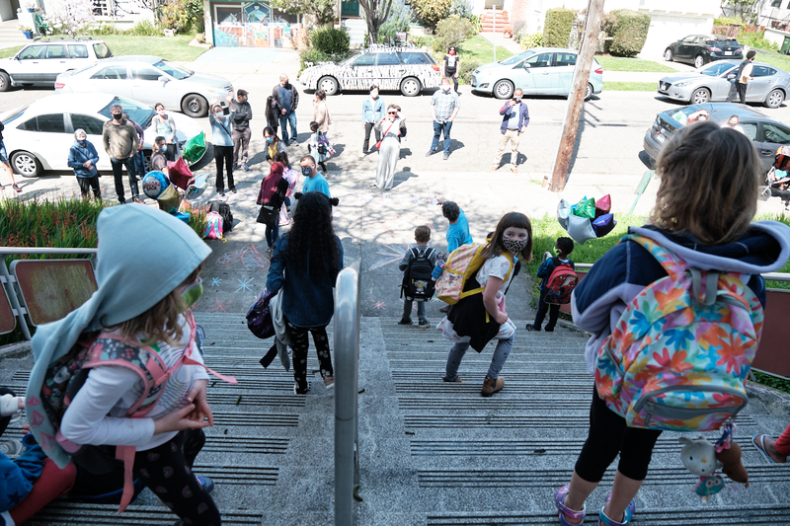 The first day back to school for BUSD Ruth Acty Elementary school after over a year of lockdown resulting from the COVID 19 pandemic, March 29, 2021 Photo: Pete Rosos