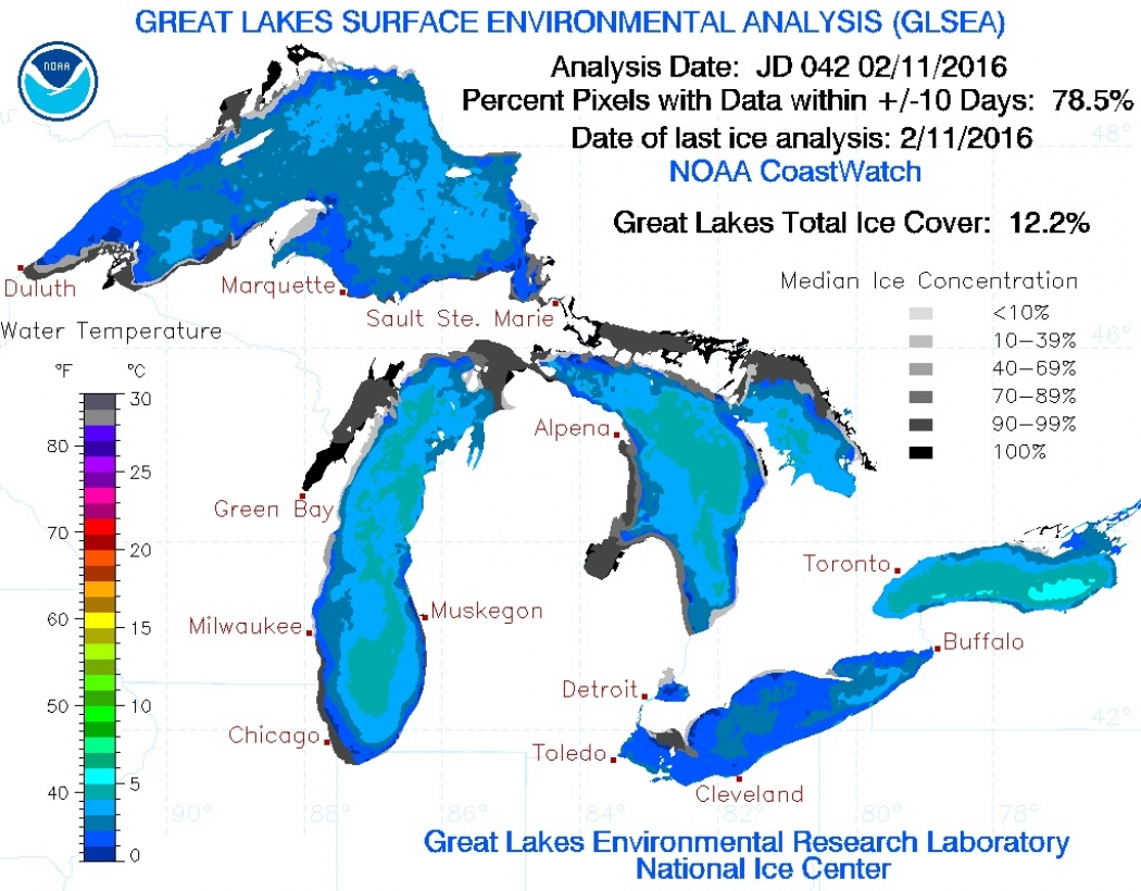 Great Lakes Temperature Change 50 Years