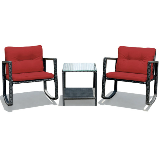 3 Pcs Patio Rattan Set Rocking Chair Cushioned Sofa Garden Furniture-Red
