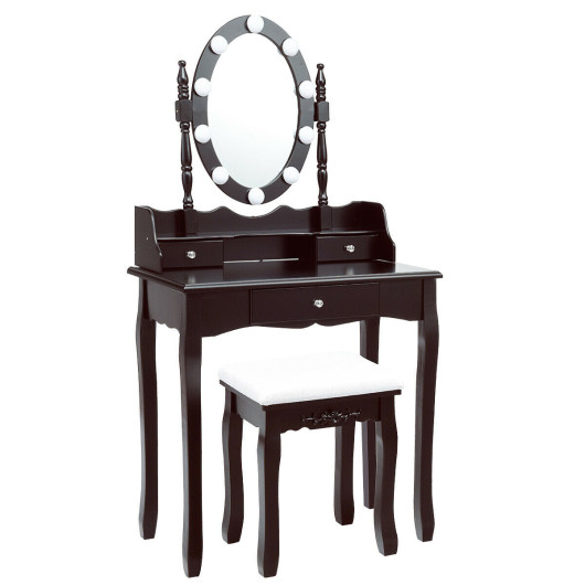 Oval Mirror Vanity Set with 10 LED Dimmable Bulbs and 3 Drawers-Brown