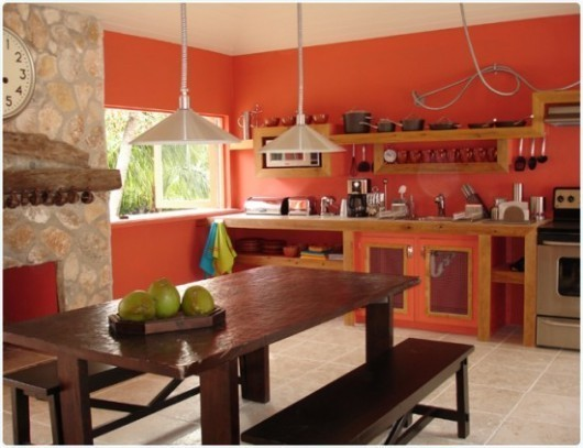 Modern Kitchen with Coral Colors Idea 530x407
