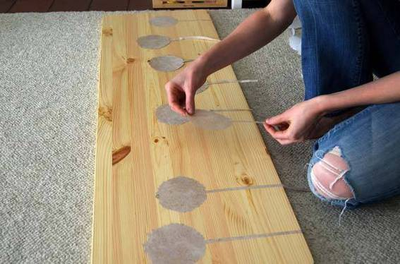 Applying the decals to the table.