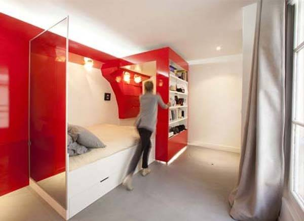 Multifunctional-space-saver-bookcase-bed