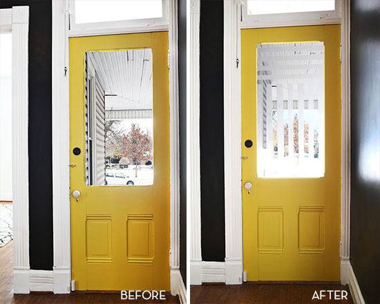 frosted glass door before and after