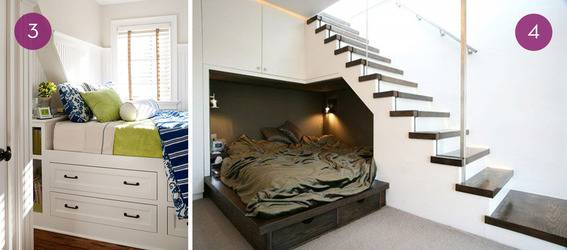 A bed nook with storage underneath, and a guest bed underneath a staircase.