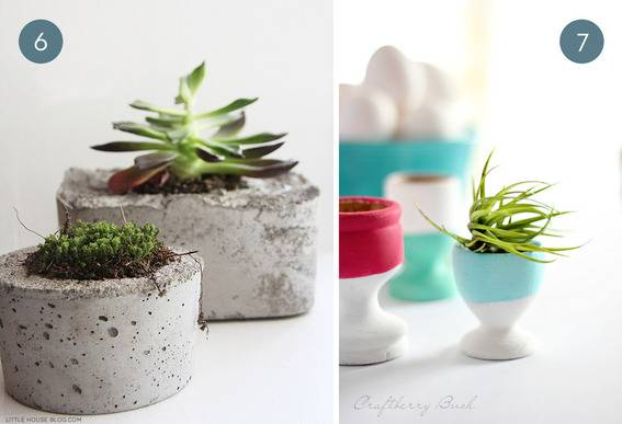 Cement and clay planters.