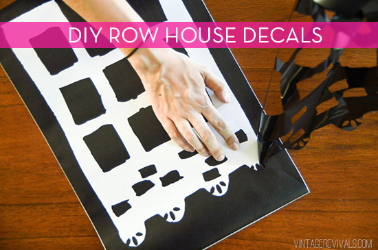 diy colorful row house wall art