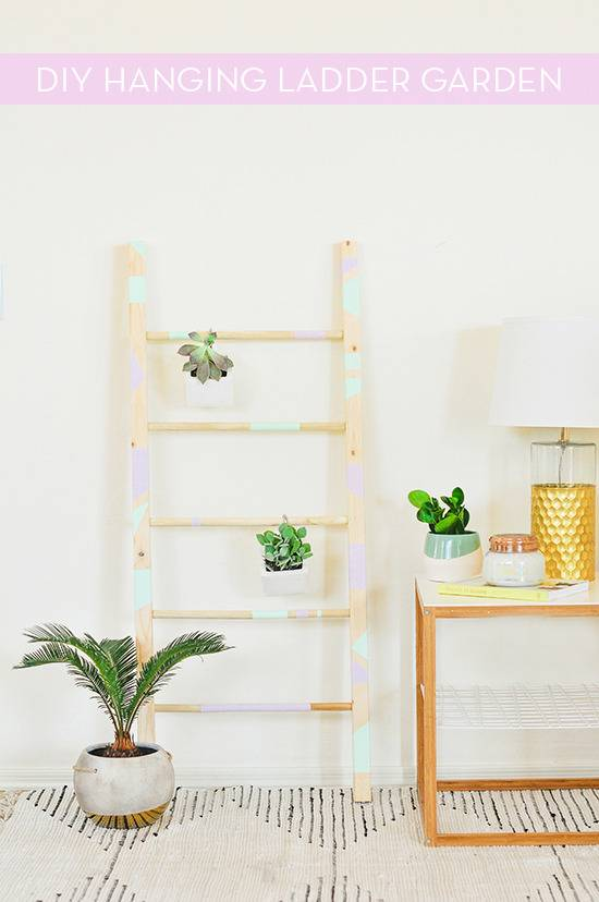 How To: DIY Ladder Garden With Hanging Succulents