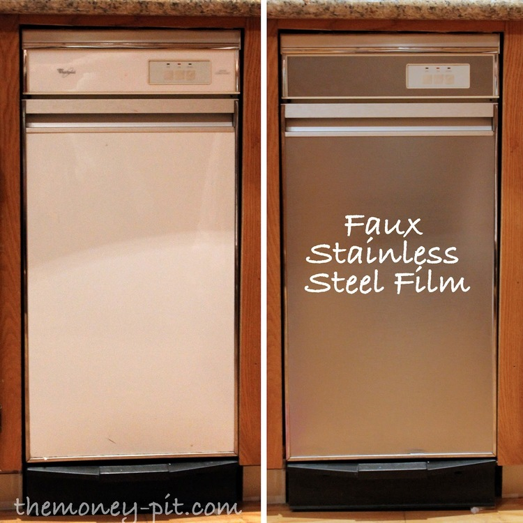 Use stainless steel contact paper to update appliances.