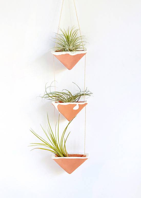 diy clay hanging airplant holders