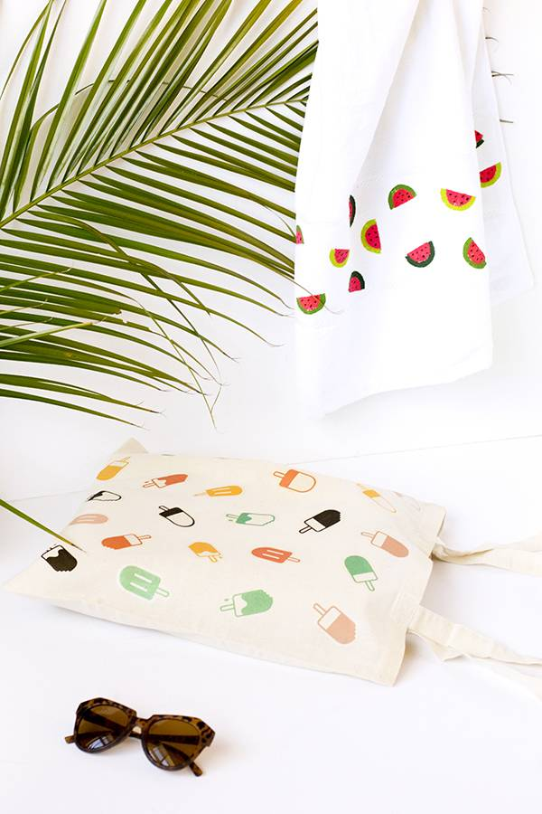 DIY popsicle tote and watermelon beach towel