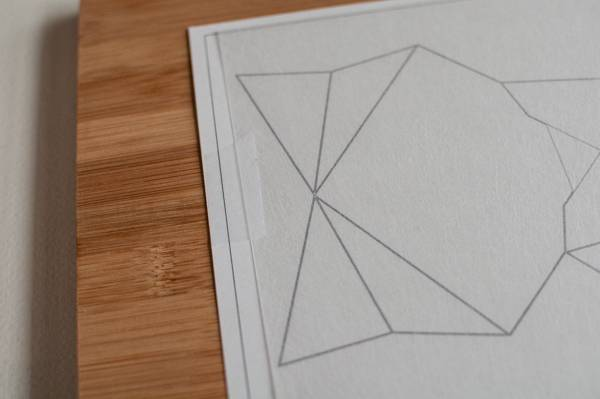 step 1 for faux fused glass geometric fox