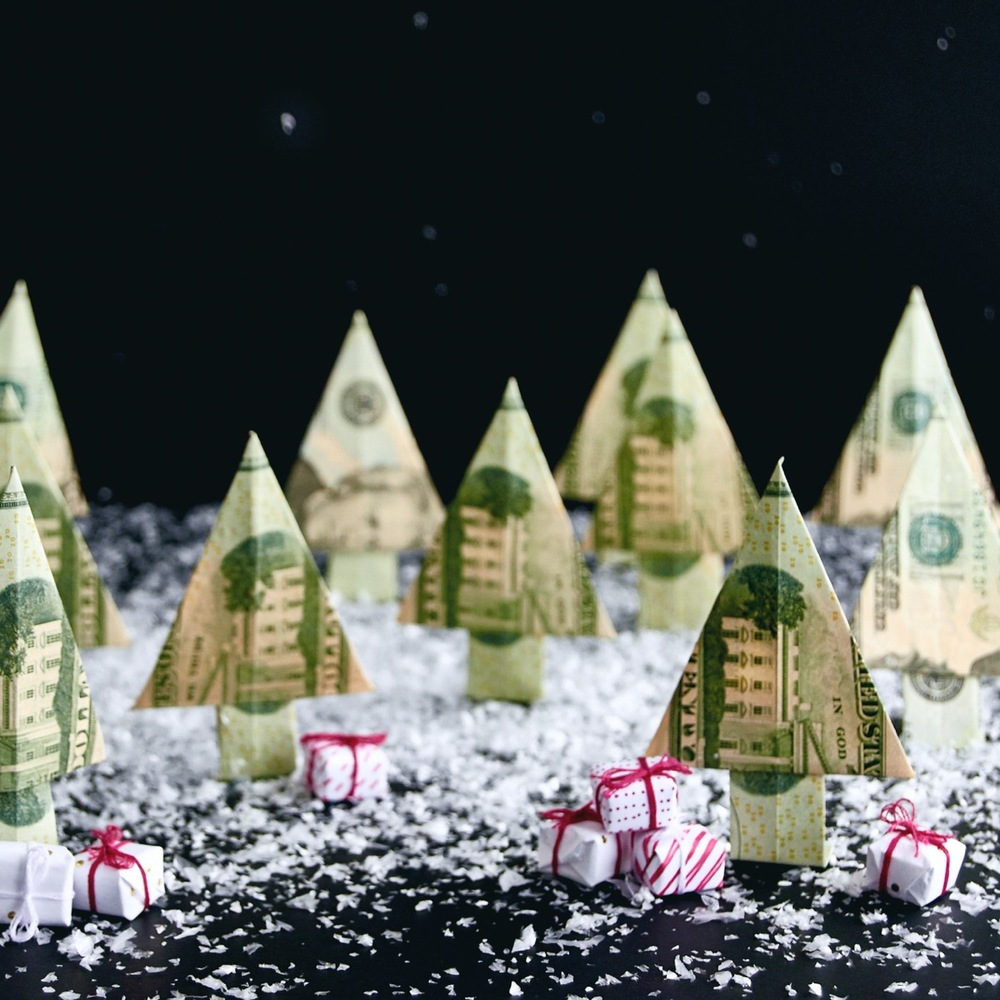 How to make a Money Tree for Christmas from a Dollar Bill