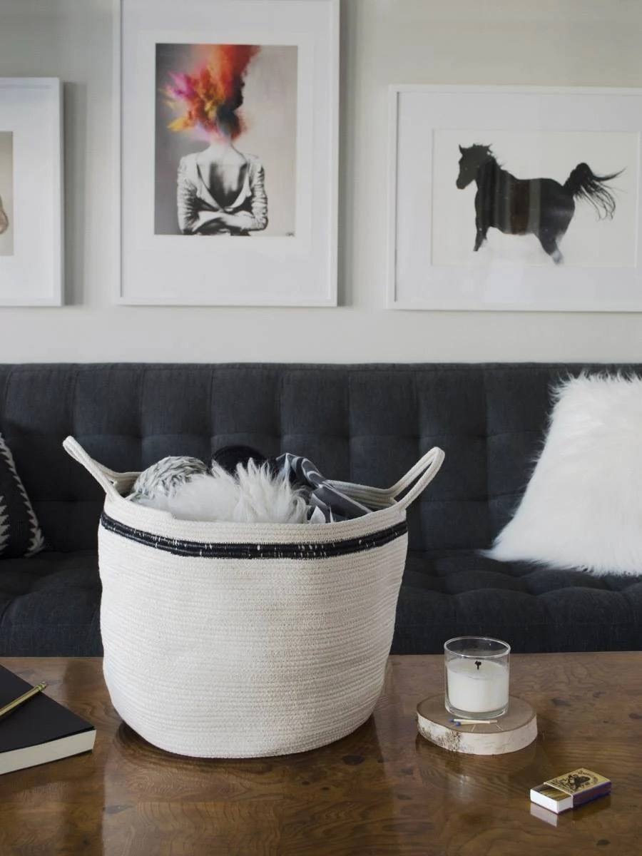 Use cotton rope to make baskets of unique and varying sizes!