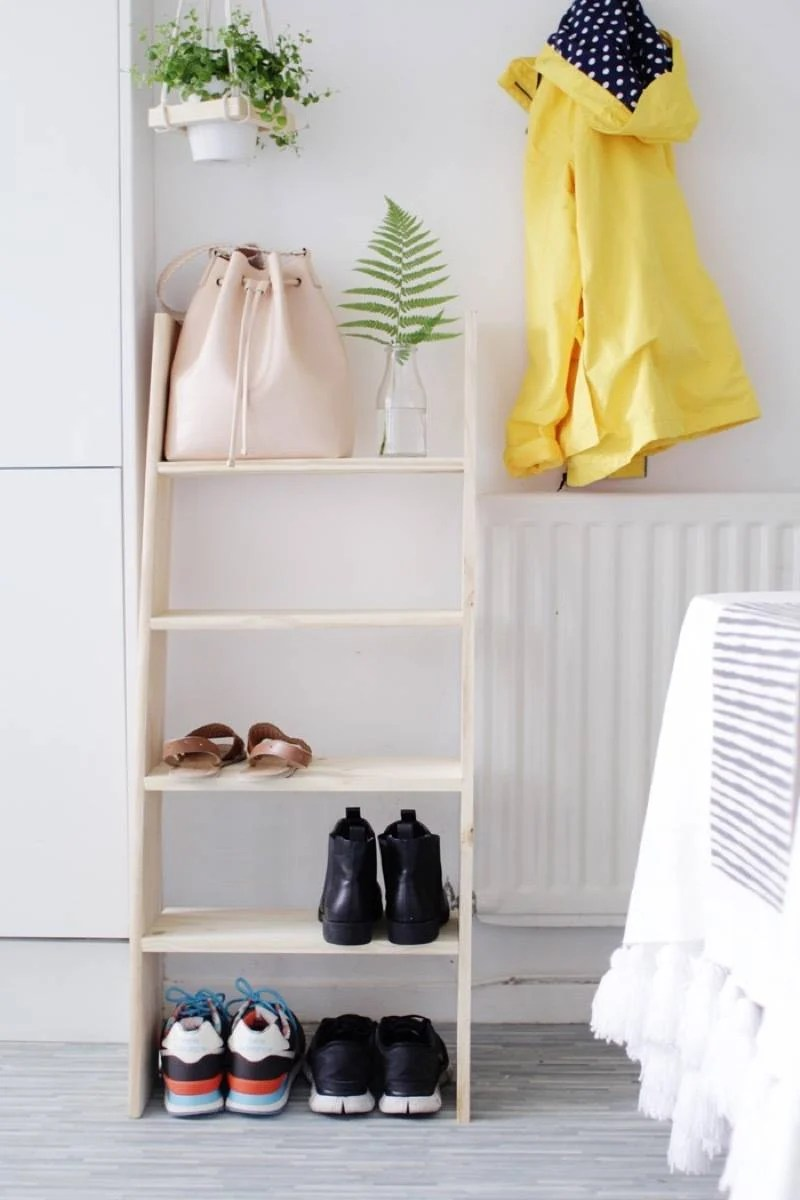DIY Ladder Shelf Shoe Storage | 72 Organization Tips and Projects for Every Space in Your Home