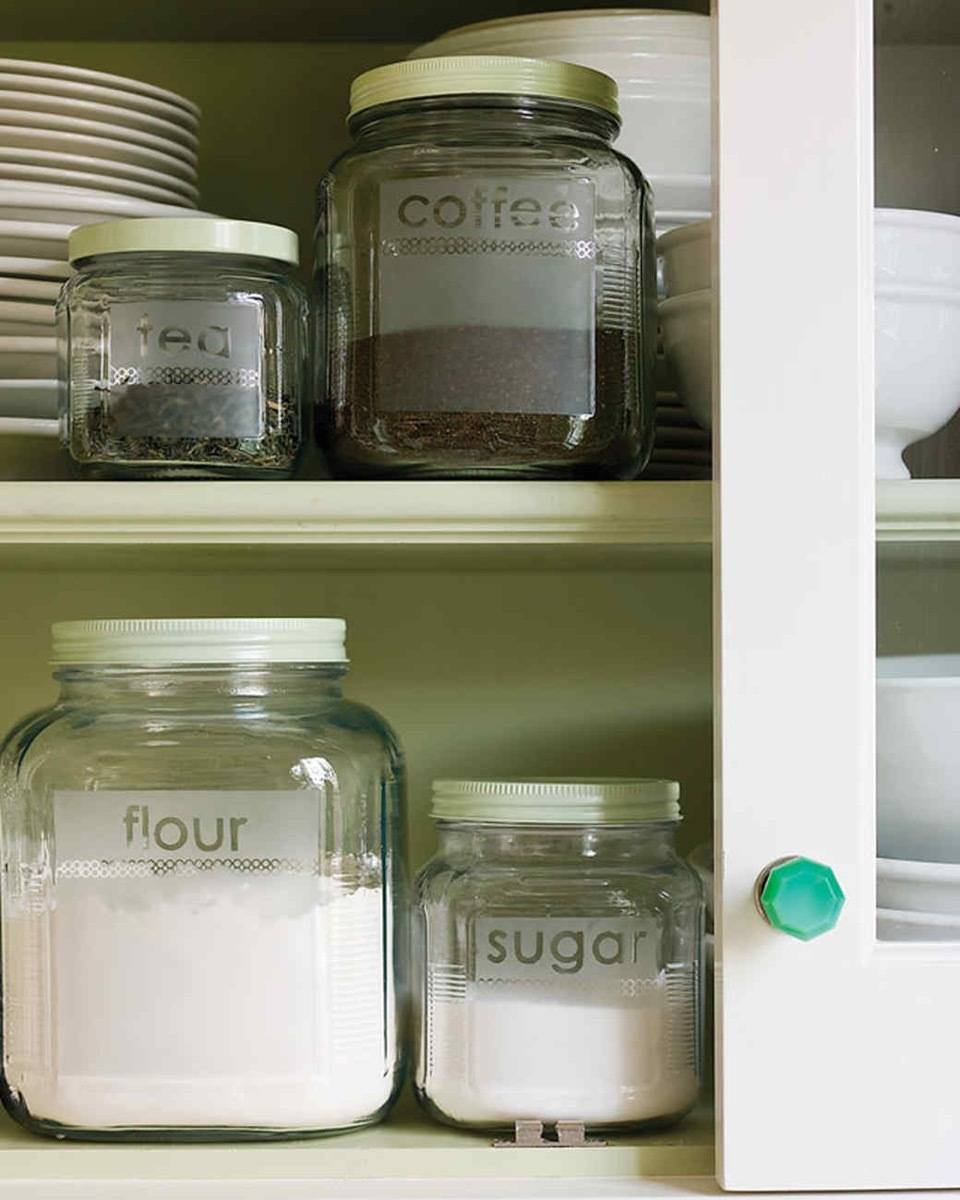Etched Jar Labels | 72 Organization Tips and Projects for Every Space in Your Home