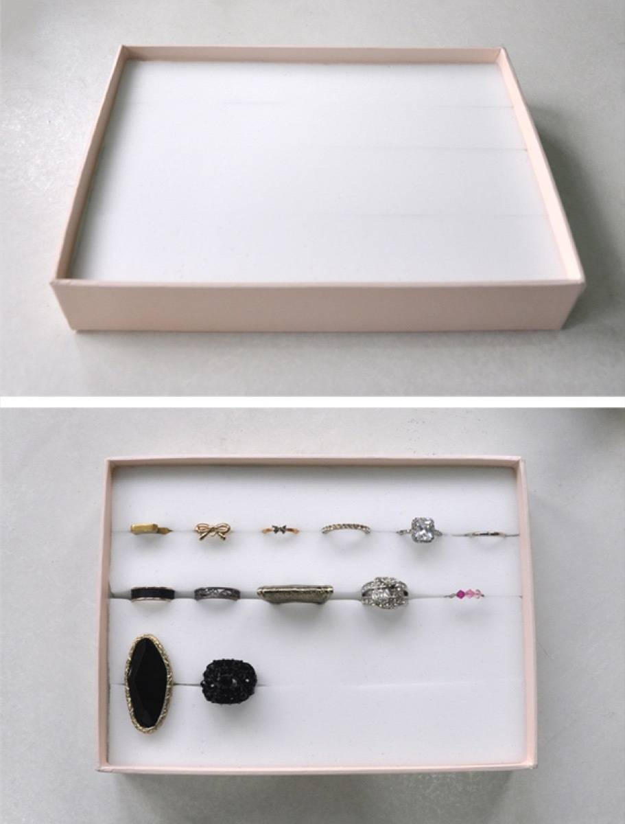 Easiest way to keep rings organized | 72 Organization Tips and Projects for Every Space in Your Home