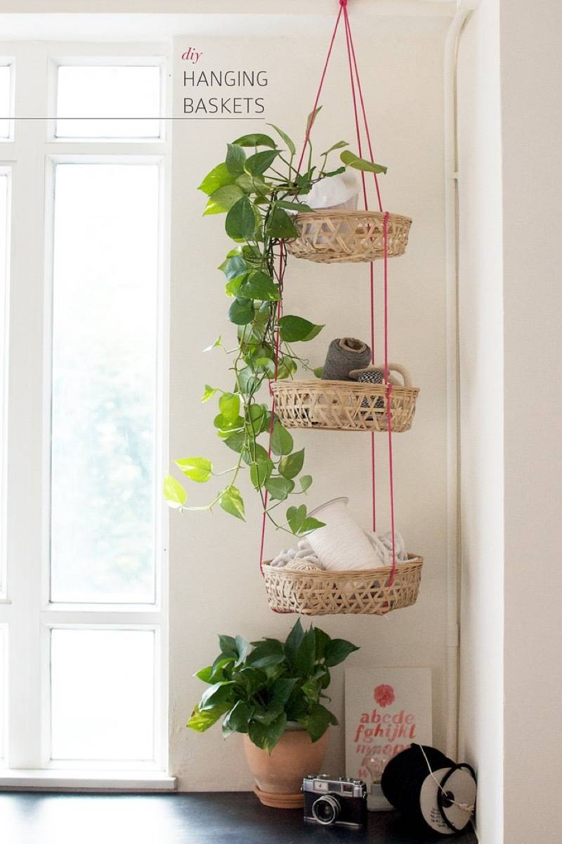 Go vertical with hanging baskets | 72 Organization Tips and Projects for Every Space in Your Home