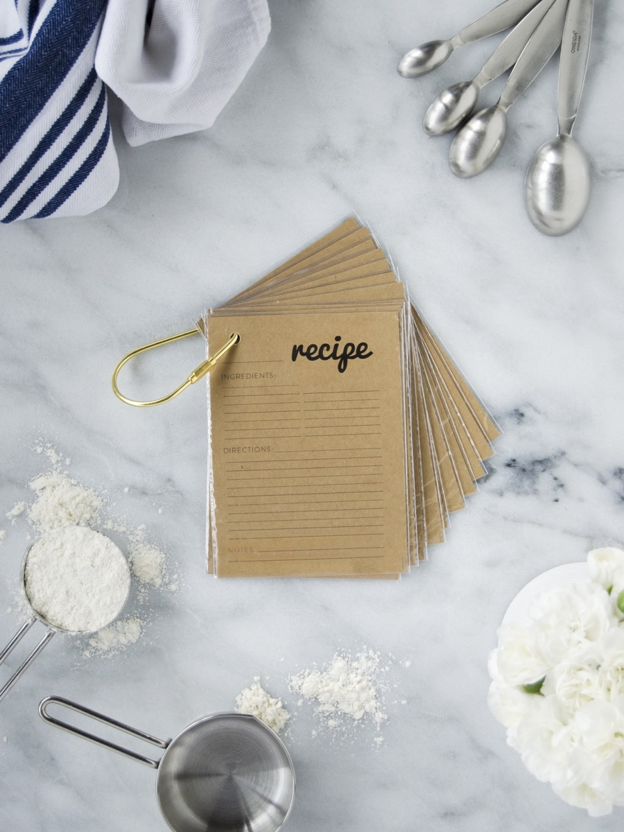 Free Printable Recipe Cards + How to turn them into a key ring booklet