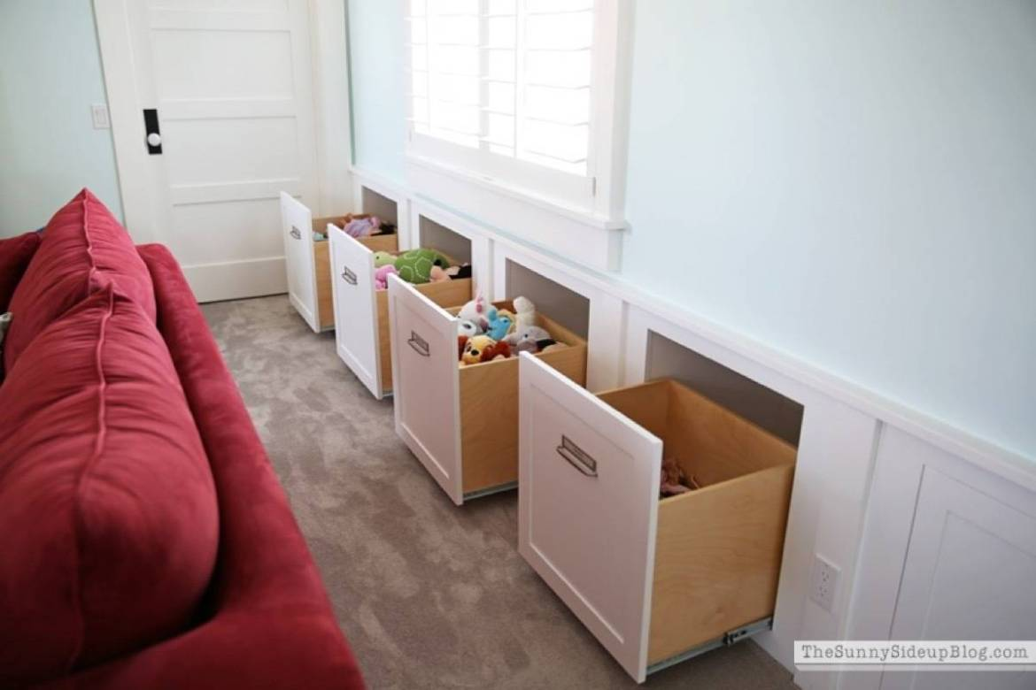 Storage solution from The Sunny Side Up Blog | 75 DIY Kids Decor Ideas