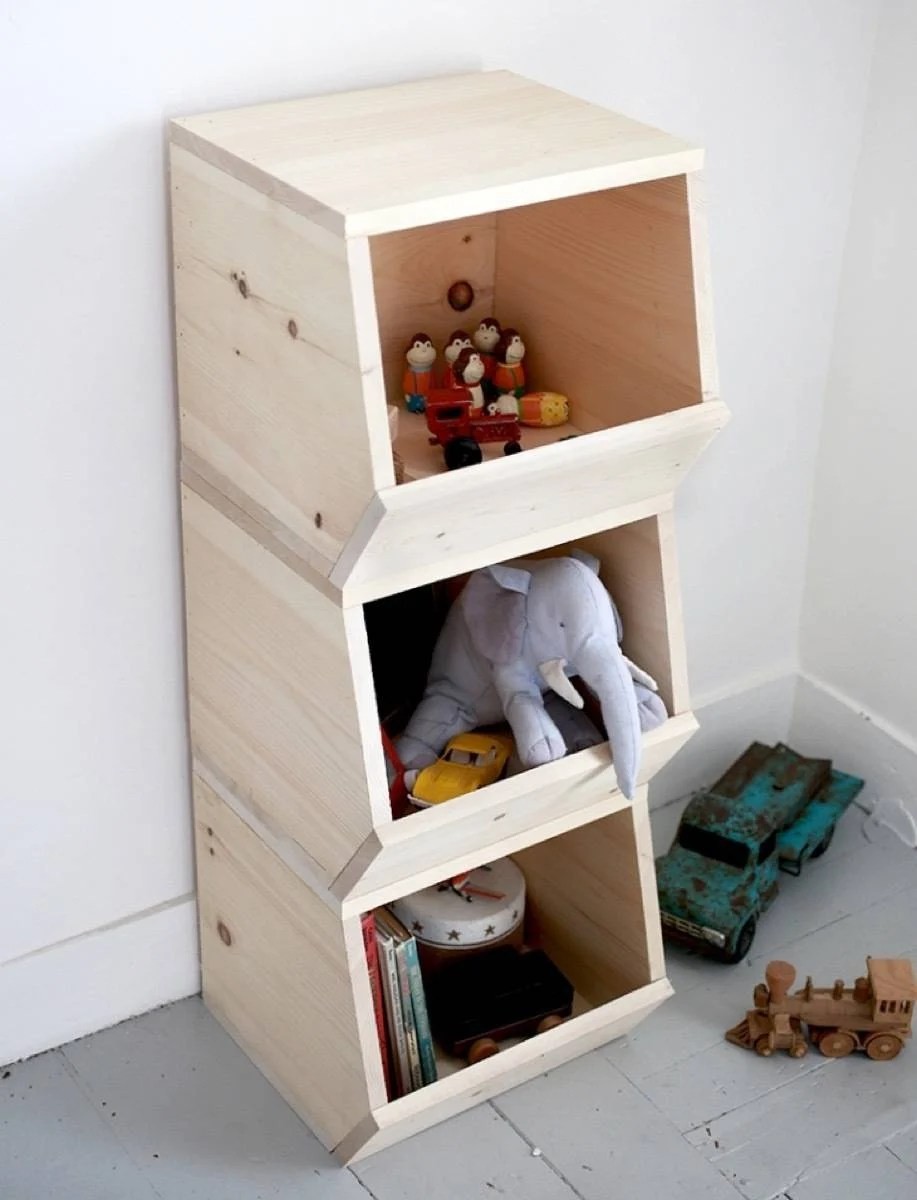 Storage solution from The Merry Thought | 75 DIY Kids Decor Ideas