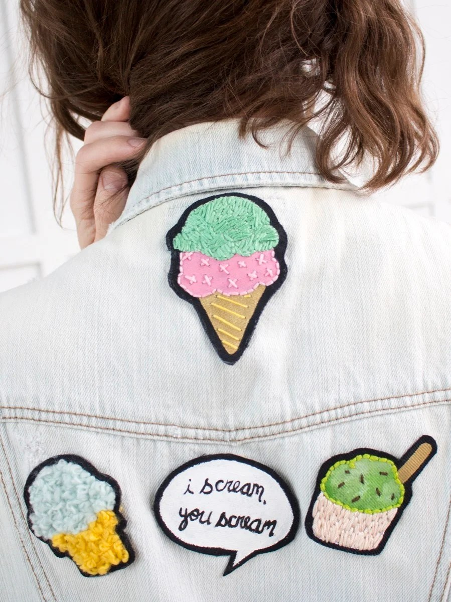 DIY custom patches with a sweet twist - they're all about ice cream!