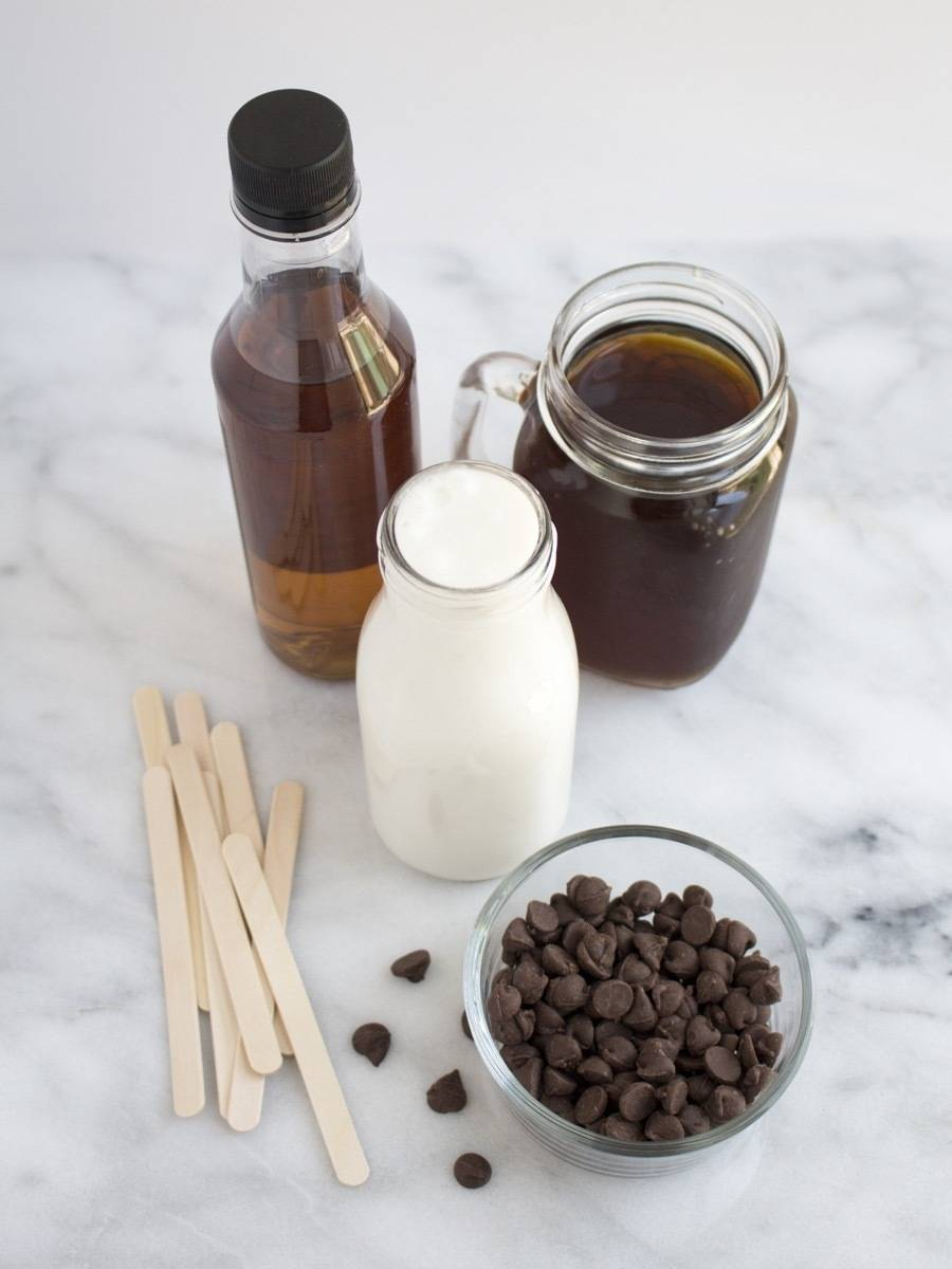 What you need to make caramel mocha coffee popsicles