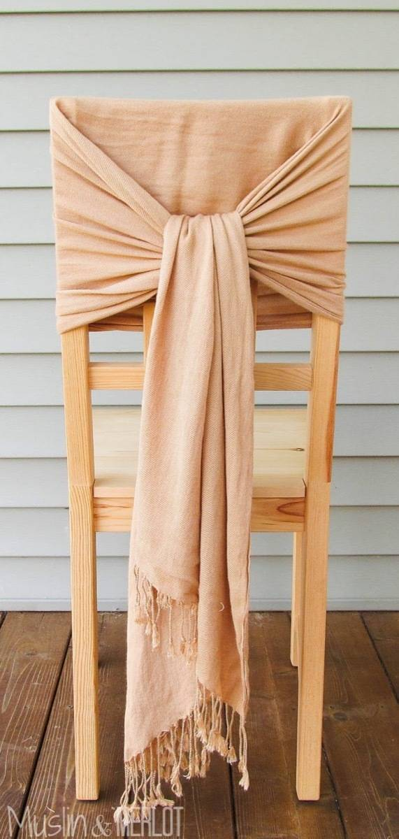 99 ways to use fabric to decorate your home   Wrap a chair with a scarf
