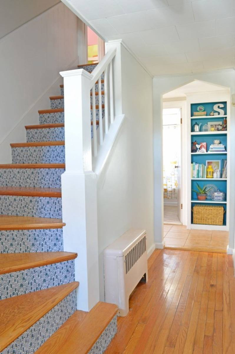 99 ways to use fabric to decorate your home   Fabric-accented staircase