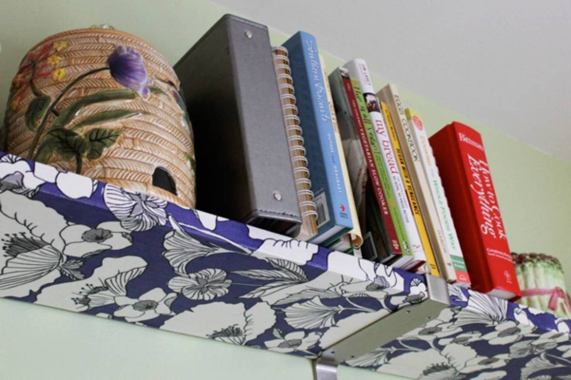 99 ways to use fabric to decorate your home   Decoupaged shelving