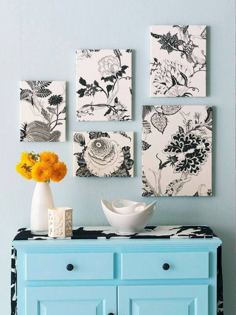 99 ways to use fabric to decorate your home   Wrap canvases