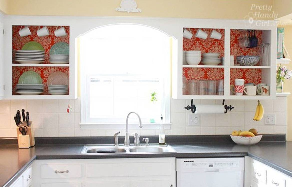 99 ways to use fabric to decorate your home   Fabric-lined shelving