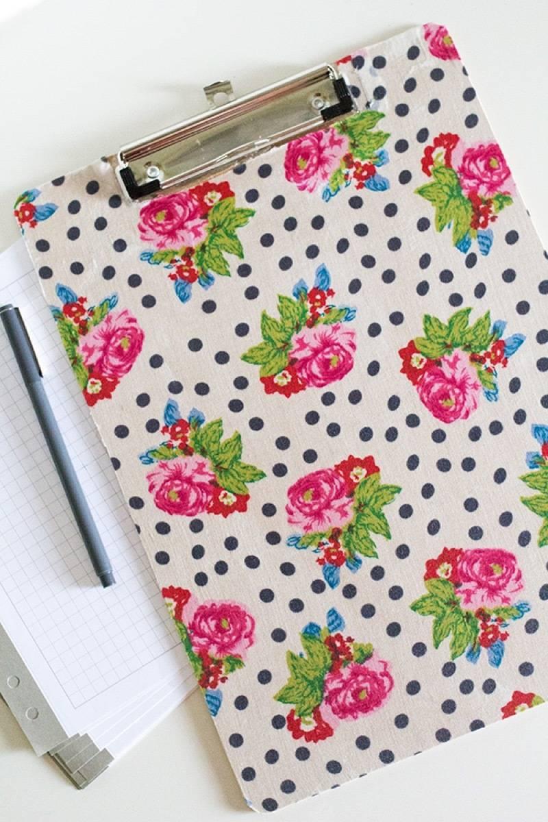 99 ways to use fabric to decorate your home   Fabric-covered clipboards