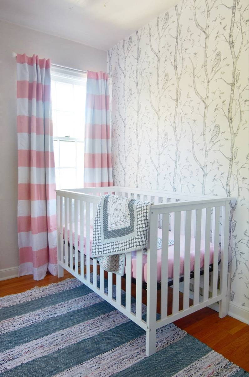 Nursery makeover with removable wallpaper